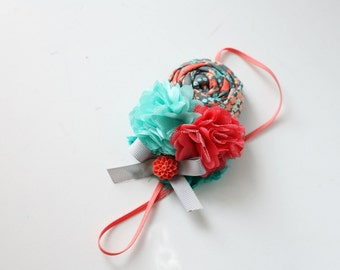 Great Grey - coral aqua mint grey rosette satin flower headband bow