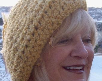 Crochet hat Women's Fashion ski accessories yellow winter tam hat