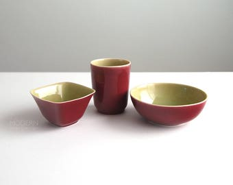 Howard Pierce Porcelain Red and Chartreuse California Pottery Cup and Two Bowls