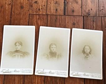 Antique Cabinet Card, 1800s Photography, Antique Photography, Antique Photograph, Vintage Photo, Sisters Photo, Antique Sisters, Set of 3