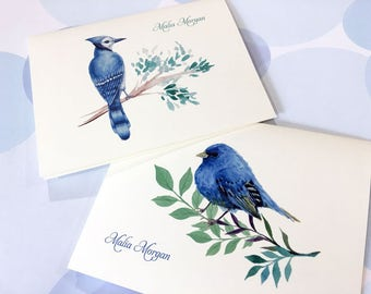 Personalized Stationery, Bird Note Cards, Set of 6