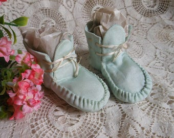 Silk Aqua Blue Baby Shoes Booties Vintage at Quilted Nest