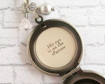 His Eye is on the Sparrow Hymn Quote Locket Necklace Womens Inspirational Christian Jewelry Floral Bird Pendant
