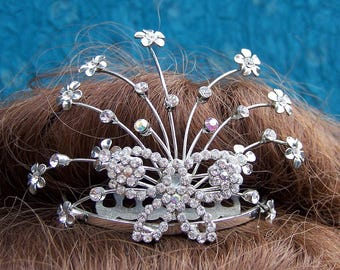 Vintage rhinestone tiara flower spray design prom pageant wedding bridal headdress headpiece 1980s fashion (AAB)