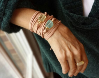 Tumbled Glass Nugget Leather Wrap Bracelet Boho Style Faux Sueded Leather