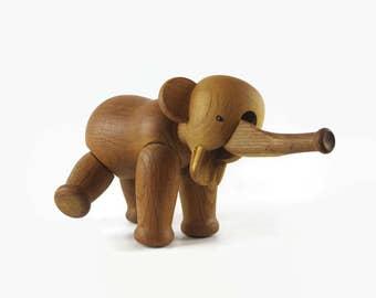 Kay Bojesen Wooden Elephant, Vintage Elephant Toy, Mid Century Modern Decor