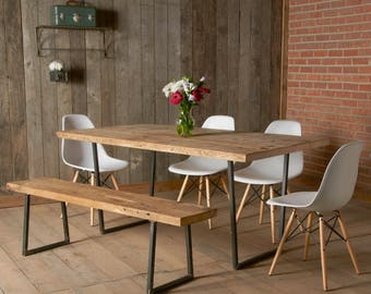 "Reclaimed barnwood dining table with square steel base (72"" x 36"" x 30"" with standard top)"