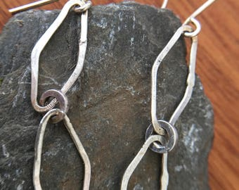 Geometric shaped organic shape dangle earrings