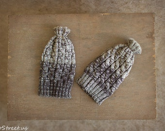 Baby Knit Hat, Baby Boy Hat, Beanie, Warm Gray Hat, Cable Knit Hat, Natural Props, Baby Photo Prop, Newborn Props, Baby Props , RTS Newborn