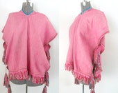 RESERVED for Y ~~ Boho Hippie Ethnic Poncho with Multicolored Tassels One Size Mexican South American