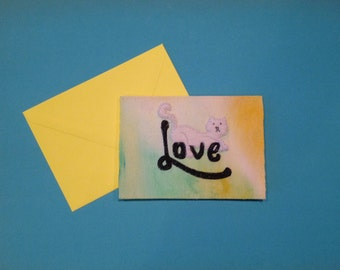 Love Cat embroidery card