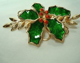 1992 Large Red and Green Enameled Holly Leaves and Berries Christmas Pin.
