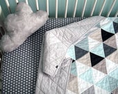 Modern Geometric Baby Quilt in Neutral Color Triangles With Grey backing