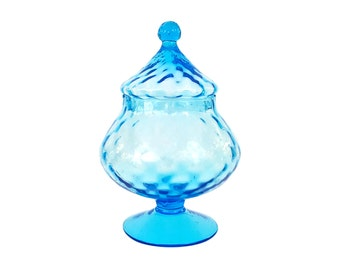Blue Empoli Glass Apothecary Candy Jar Circus Tent Italian Mid-Century Modern