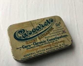 Cascarets Candy Cathartic Antique Laxative Quack Medicine Tin