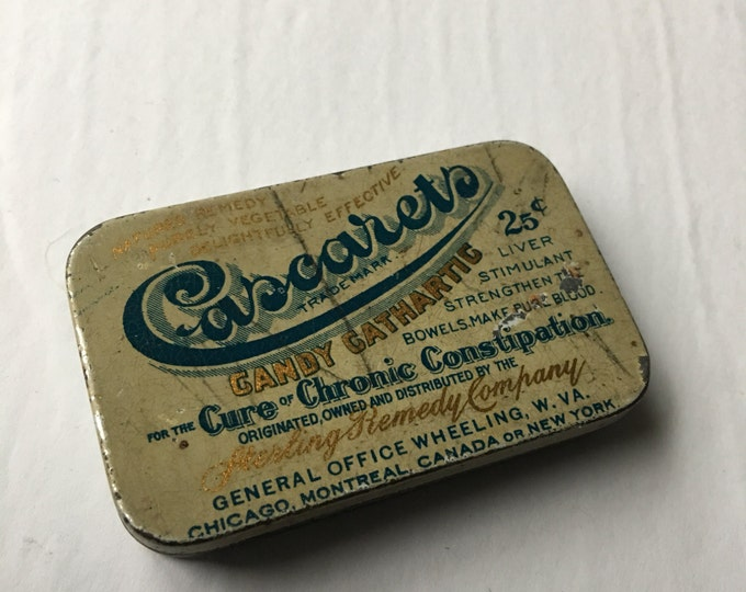 Cascarets Candy Cathartic Antique Laxative Quack Medicine Tin