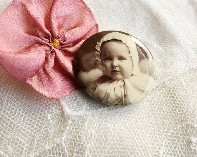 Sweet Baby Antique Celluloid Photo Pinback Button