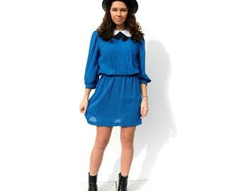 Blue and black striped Madeline dress with peter pan collar 1980s 80s VINTAGE