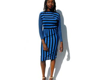 Black and blue striped midi dress 1980s 80s VINTAGE