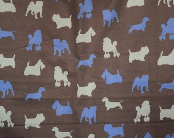 Flannel pants pajama dorm lounge made to order your choice size XS - 2X  blue tone dog silhouettes on a brown background