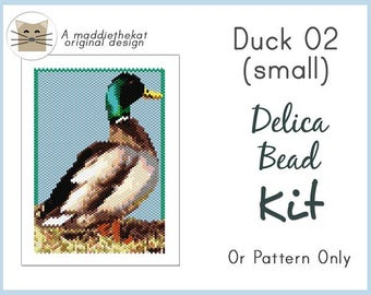 Duck 02 Small Panel Peyote Seed Bead Pattern PDF or KIT DIY Wildlife Animal Bird