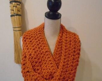 Pumpkin infinity scarf, crocheted, blanket scarf