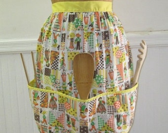 20% OFF SALE vintage 1970s Yellow Country Kitchen Patchwork APRON with calico, flowers, checks and  Pockets