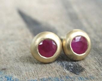 Ruby Earrings , Ruby Stud Earrings , Gold Ruby Earrings , Gold Earrings , Genuine Ruby Earrings , Gold Stud Earrings - one of a kind