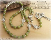 Personalized Communion Rosary with Authentic Connemara Marble Imported from Ireland, Celtic Knot Beads and Silver - Heirloom - Irish Rosary