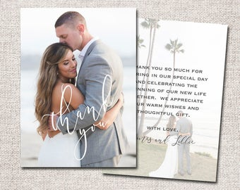 Wedding Thank You Card, Photo Thank You Card, Thank You Card, Printable Thank You Card, Modern Thank You card (Thank You 2 sided)