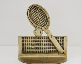sale // Vintage 60s Brass Tennis Racket Single Bookend Figurine - sporty, library decor