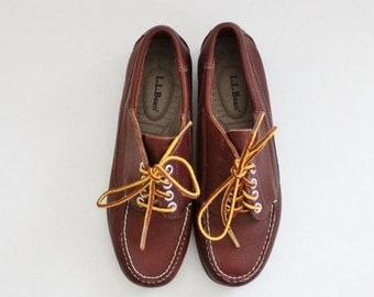 50% half off sale // Vintage 90s LL Bean Boat Shoes // Rich Brown Leather // Women 7.5M