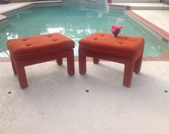 "MILO BAUGHMAN STYLE Parson Benches / Pair of Vintage Parson Benches 24"" long /Original Orange Fabric / Mid Century style at Retro Daisy Girl"