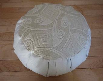 Zafu Meditation cushion Cream, off white color with Geometric design on top
