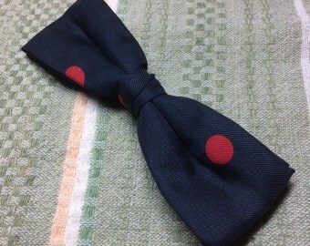 1950's Vintage Clip On Bowtie Navy Blue with large Red polka dots patterned Mod design Ruebro NY