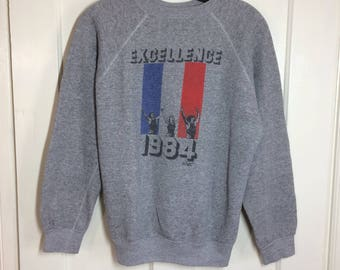 1980's 1984 Olympics Track Heather Gray Pullover Sweatshirt looks size Medium Excellence French Team France Flag