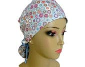 Ponytail Scrub Cap  Circles on Light Blue, Nurse Graduation Gift, Surgical Scrub Hat, Chemo Headwear, Great with or without Hair