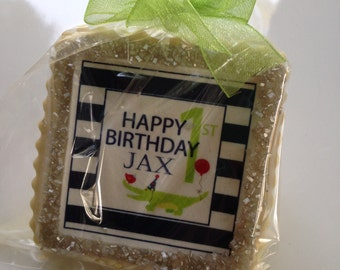 custom cookie favors alligator birthday themed navy green 1st boys birthday