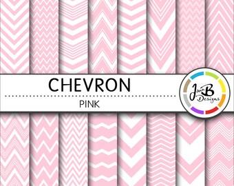 Chevron Digital Paper, Light Pink, Pink, White, Chevron, Zig Zag, Digital Paper, Digital Download, Scrapbook Paper, Digital Paper Pack