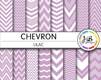 Chevron Digital Paper, Lilac, Purple, White, Chevron, Zig Zag, Digital Paper, Digital Download, Scrapbook Paper, Digital Paper Pack