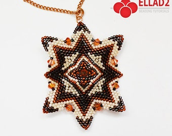 Tutorial Ida Pendant - Beading pattern pendant,Beading Tutorial, design Ellad2, Instant download