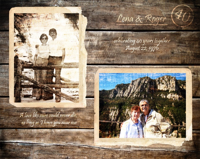 40th Anniversary Gift Parents Anniversary Gift Gifts For Parents 40 Years Of Marriage 40 Years Ago Home Decor Home and Living 16x20