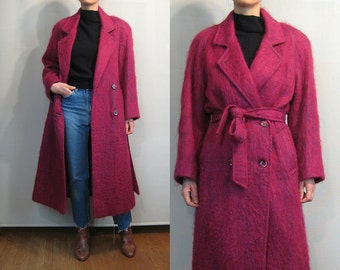 Wine MOHAIR Double Breasted Coat with Belt