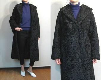 50s Black Persian Curly LAMB Fur Coat