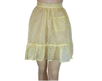 Vintage 1940's Vintage Half Apron, Flirty Ruffled Sheer Polka Dot Organdy Hostess Apron