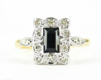 Vintage Sapphire & Diamond Engagement Ring, Rectangular Cut Sapphire with Scalloped Edge Diamond Halo. Circa 1940s, 18ct PLAT.