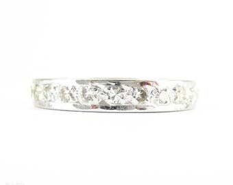 Vintage Diamond Eternity Ring, Full Hoop Diamond Wedding Band. Mid 20th Century, 18 Carat White Gold. Size L.5 / 6.