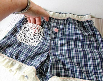Lace Boho Boxers,Boyfriend Eco Altered Lace Pocket Navy Plaid Boxer Shorts With Vintage Lace by Wild Hollyberry for Hollywood Hillbilly