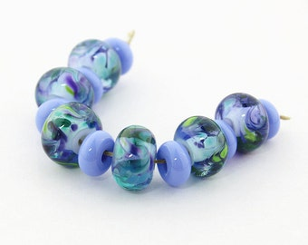 Sheribeads Glass Beads 6 Amazon Encased Rondels with 7 Periwinkle Mini Spacers Purple Blue Green