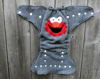 Upcycled Wool Nappy Cover Diaper Wrap Cloth Diaper Cover One Size Fits Most Gray With ELMO Applique/ Navy & Black